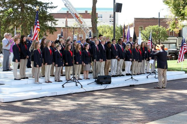 The WHS Advanced Choir sings the National Anthem at the Gold Star Memorial dedication in downtown Massillon